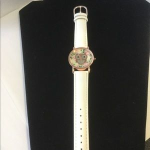 Aeropostale Floral Owl Watch, White Band, NWOT